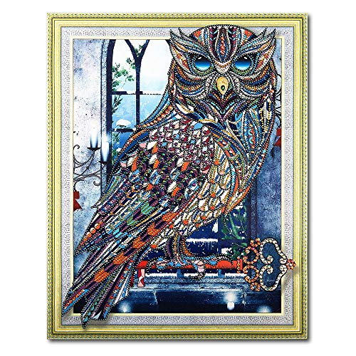 Merssavo Diamond Drawing, DIY Special-Shaped Diamond Painting Cross Stitch Embroidery Kit Bedroom Living Room Decorative Painting(Owl#2) ()