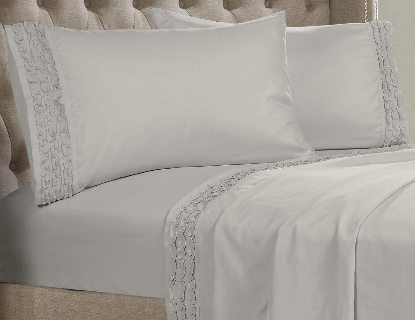 Posh Home Ruffle Sheet Set - Double Brushed 4 Piece Ultra Soft Wrinkle & Fade Resistant (Twin, Feather Grey - Triple Ruffle)