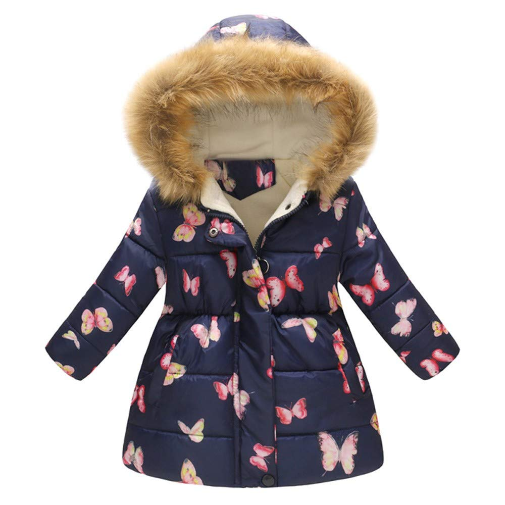 Suma-ma 2-7T Toddler Kids Butterfly Plush Windproof Winter Warm Hoddie Coat