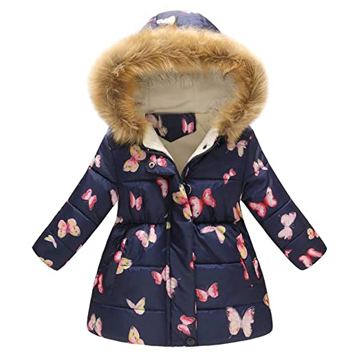 a508b19b530d Amazon.com  Sumen Kids Winter Coats Little Girls Floral Thick Warm ...