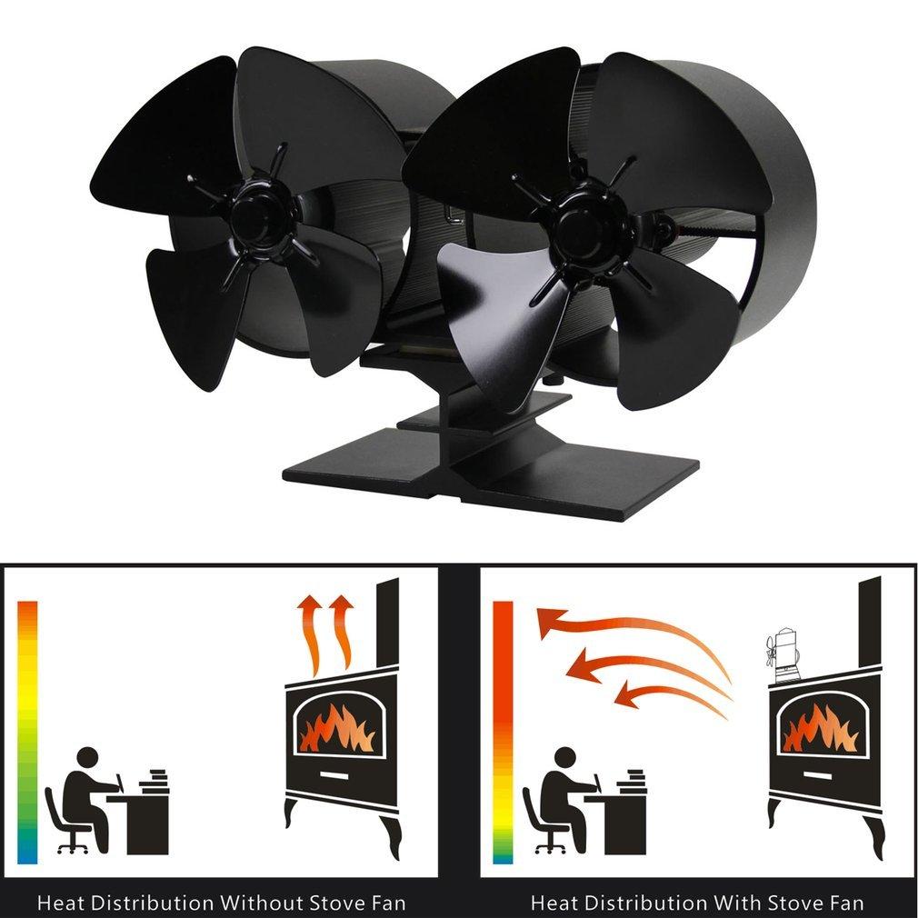 Aliment/é Po/êle deux Ventilateurs pour Bois//b/ûches Br/ûleur//chemin/ée Aluminium Noir Kitechildheed Ventilateur Po/êle /à 4 pales /à /économie d/énergie