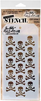 THS064 Tim Holtz Layering Stencil Stampers Anonymous CROSSBONES