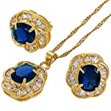 RIZILIA BLOSSOM Jewelry Set Pendant with 18'' Chain & Stud Earrings Oval Cut CZ [Simulated Blue sapphire] in Yellow Gold Plated, Simple Modern Elegant