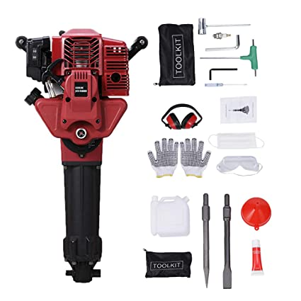 BEAMNOVA Demolition Hammer Gas Powered Demolition Drill Jack Hammer  Hand-held Rock Drill with Point and Flat Chisel, Punch Single Cylinder,  Gloves,
