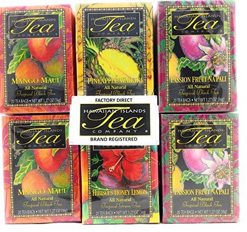 Hawaiian Islands Tea Company TROPICAL TEA Assortment (Six/1.27 Oz. Boxes with 20 Tea Bags Per Box) (Pack of 6)