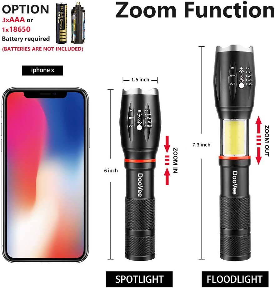 COB Flashlight for Outdoor DooVee LED Tactical Flashlight High Lumen Camping Handheld Flashlight Hiking Zoomable with 6 Modes Water Resistant Emergency Night Works