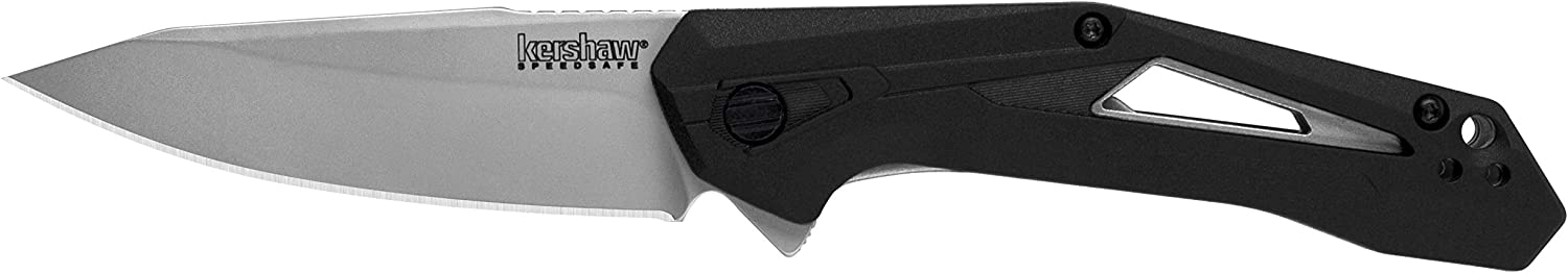 Kershaw Airlock Folding Pocket Knife, 3-Inch Blade with SpeedSafe Assisted Opening, Inset Liner Lock (1385), Black