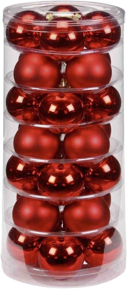 rot glanz//matt Inge-glas 12002D003 Kugel 60 mm 28 St/ück//Dose