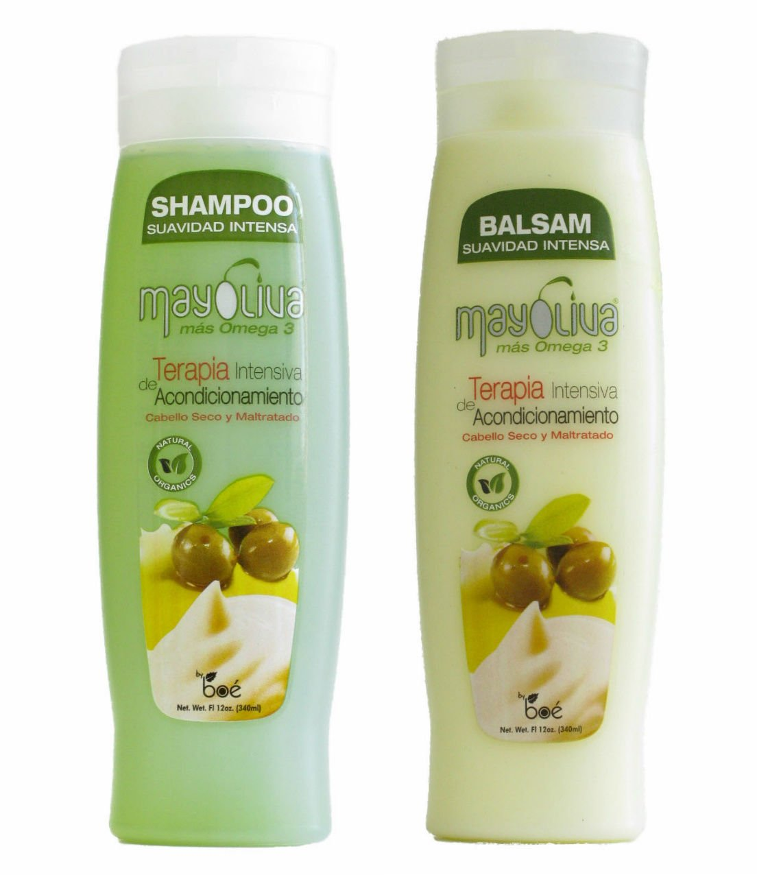 Mayoliva Mas Omega 12oz.- Shampoo & Balsam Rinse Set (Dominican Hair)