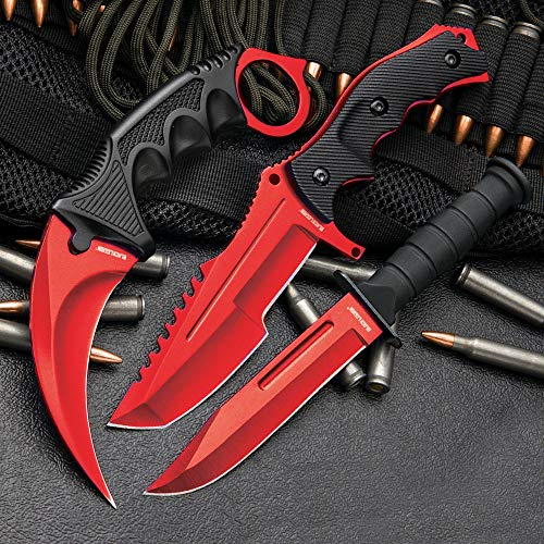 (Black Legion 3-Pc. Knife Set Atomic Red | Karambit - Huntsman - Military Knife)