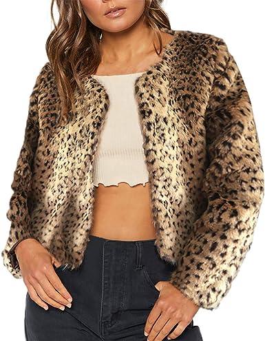FIRSS Leoparden Kunstfell Pelzmantel Damen Mantel Pelzkragen l3T1JFKc