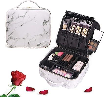Koopee Mármol Neceser de Maquillaje Profesional, Neceser de Maquillaje Viaje Impermeable Alto Nivel Cuero PU Bolsa de Cosmeticos Viaje Pequeña Makeup Bag Travel Estuche de Maquillaje para Mujer Niña: Amazon.es: Belleza
