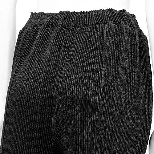 SPECCHIO(スペッチオ) シャトルプリーツ 7分丈 クロップドパンツ センタープレス ブラック サイズ7-31号