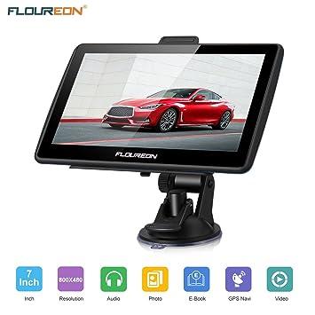 GPS de Coches, FLOUREON Navigation de 7 Pulgadas Pantalla LCD capacitiva Sat Nav Navigator para automóvil actualizaciones de mapas de por Vida (Negro)