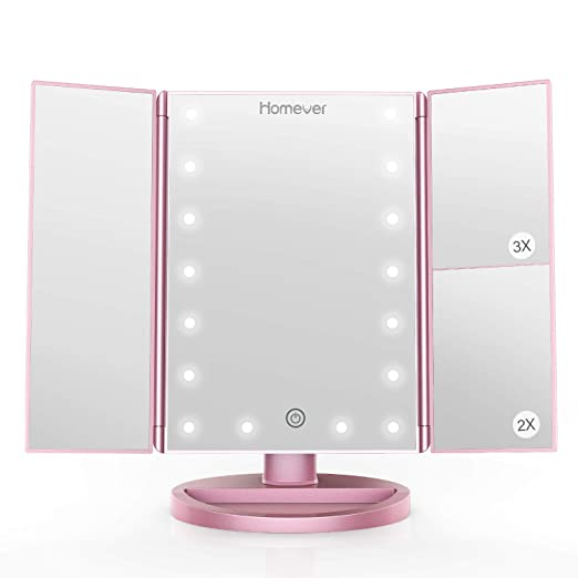 Homever Makeup Vanity Mirror, 21 LED Lighted Mirror with Touch Screen, 3X/2X Magnifiction, 180° Adjustable Rotation, Dual Power Supply,Portable Trifold Mirror, Upgrade in 2019