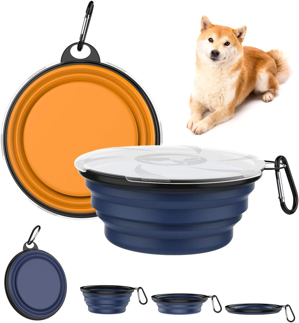 Lewondr Collapsible Dog Bowls, [2 Packs] Silicone Food & Water Travel Bowl Portable Dog Cat Bowls with Lids Expandable Pet Feeding Watering Cup Dish for Walking, Kennels & Camping