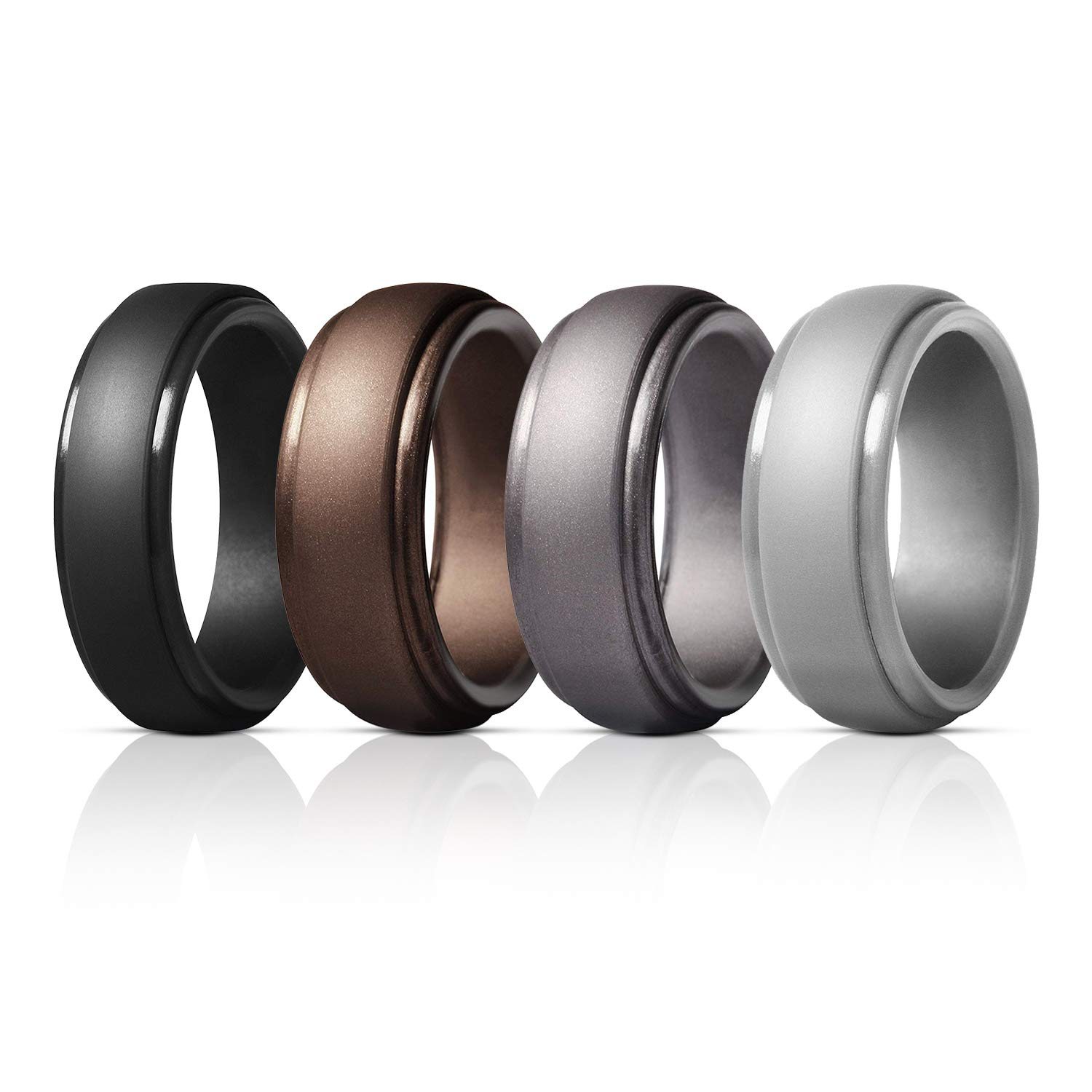 for Crossfit Workout Step Edge Sleek Design -Size 7 8 9 10 11 12 13 14 Elimoons Silicone Wedding Ring for Men 8 Rings//4 Rings /&Singles Silicone Rubber Wedding Bands