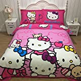 CASA 100% Cotton Brushed Kids Bedding set Girls Hello Kitty Duvet Cover and Pillowcases and Fitted sheet,girls,Girls,4 Piece,Queen