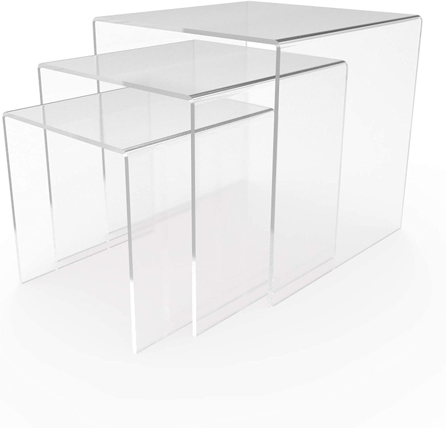 FixtureDisplays 8 Clear Plexiglass Pedestal Lucite Acrylic Display Risers Jewelry Showcase Fixtures 1//8 Thick 16905-8INCH-CLEAR