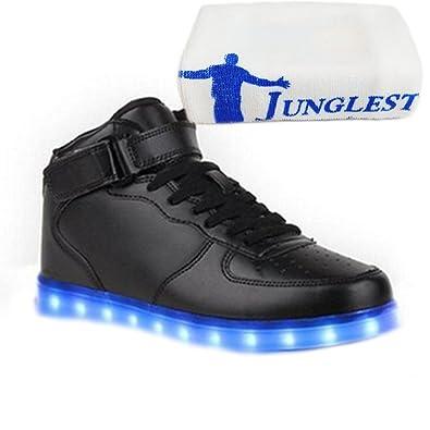 (Present:kleines Handtuch)Schwarz EU 45, LED-Licht aufladen Laufschuhe Schuhe Leuchtend Damen USB Mode und Herren Freizeitschuhe Sneaker Outdoorschuhe Farbe mode Wechseln Spo