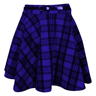 3222e25c1bf Womens New Tartan Check Printed Ladies Short Mini Slim Detachable Waist  Belted Flared Pleated Skater Red Skirt  Amazon.co.uk  Clothing