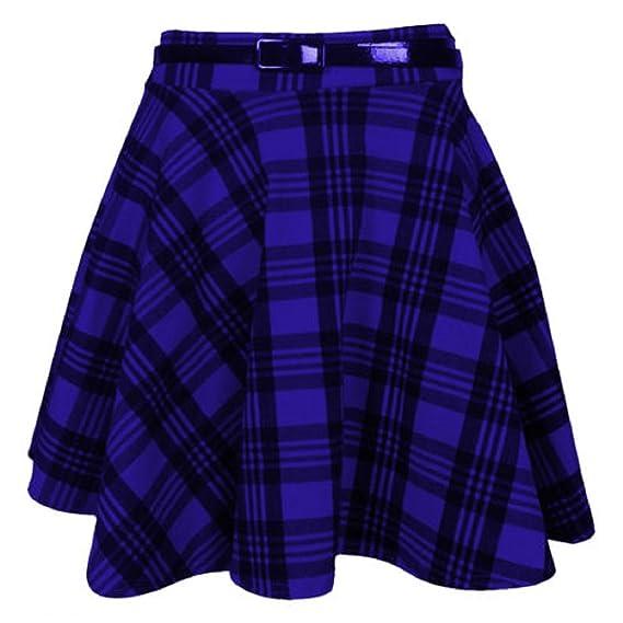 Purple Hanger - Falda escocesa corta de cuadros para mujer, con ...