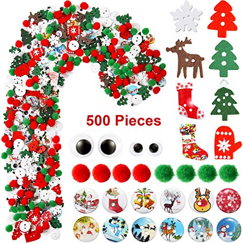 500 Pieces Christmas Embellishments Mix Christmas Wood Buttons Christmas Tree Pom Pom Ball Wiggle Eyes Ornaments Assorted Styles for Xmas DIY Craft Sewing Decoration Accessories (Craft Christmas Items)