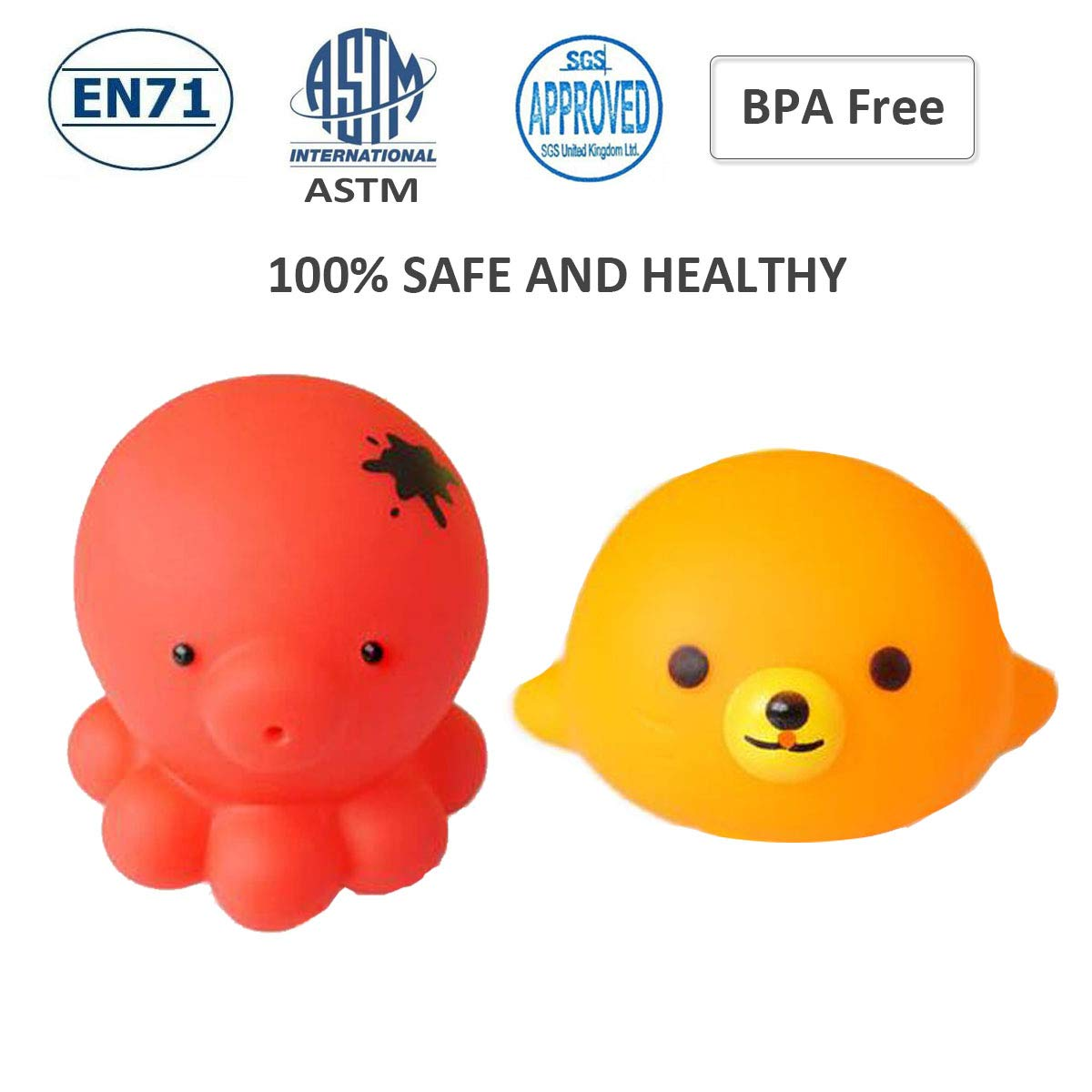 BPA Free YHYZ Premium Bath Toy,Cute Squirter Squeak Bathtub Floating Toys - Octopus + Sea Lion 100/% Safe