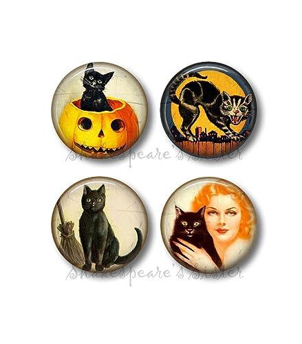 Black Cat Vintage Art /& Advertisements badges Set of 8 pins or magnets