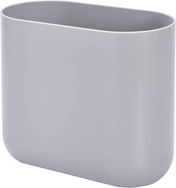 iDesign Cade Oval Slim Trash, Compact Waste Basket Garbage Can for Bathroom, Bedroom, Home Office, Dorm, College, Matte Gray