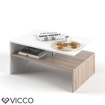 VICCO Couchtisch AMATO 90 X 60 Cm Weiss Eiche Sonoma