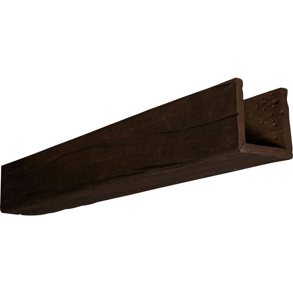 Ekena Millwork BMRW3C0040X040X096ES 4''W x 4''H x 8'L 3-Sided (U-Beam) Riverwood Faux Wood Beam, Espresso Finish, 4 inch W x 4 inch H x 8'L