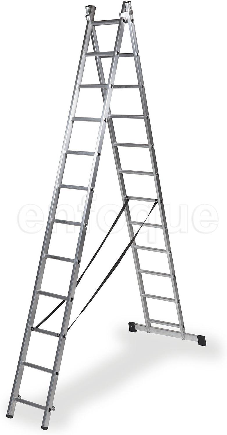 Escalera profesional de aluminio transformable apoyo-tijera con base un acceso 2 x 12 peldaños serie bis: Amazon.es: Hogar