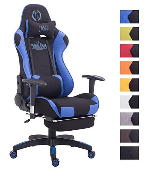 CLP Silla Gaming Turbo Tapizado de Tela I Silla Gamer Giratoria I Silla Racing Regulable en Altura I Silla Oficina con Reposapiés I Color: Negro/Azul