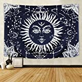 BLEUM CADE Psychedelic Moon and Sun Tapestry Wall Hanging Tapestry Dark Blue White Celestial Tapestry Indian Hippy Bohemian Mandala Tapestry for Bedroom Living Room Dorm