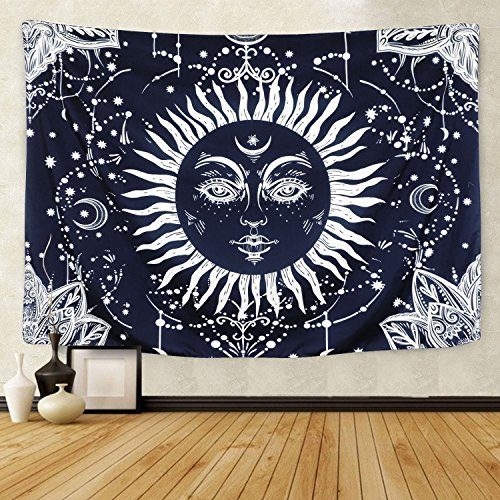(BLEUM CADE Psychedelic Moon and Sun Tapestry Wall Hanging Tapestry Dark Blue White Celestial Tapestry Indian Hippy Bohemian Mandala Tapestry for Bedroom Living Room)