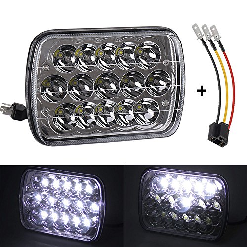 45W 7x6 5x7 inch Led Headlights 6054 H6054 Hi/Lo w/ H4 Headlight Adapter Sealed Beam Jeep Wrangler Cherokee Toyota 95-97 Tacoma 88-95 Pickup Chevy Express Van Nissan Pickup 1PACK ()