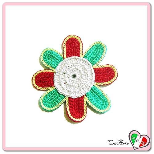 Flor aguamarina gris y roja para aplicaciones, broche o imán ...