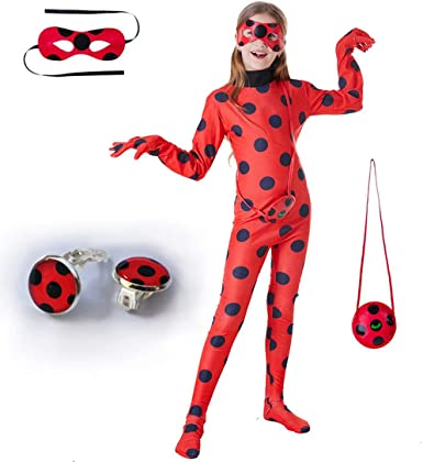 DAZCOS Child Size Cosplay Costume Black Spot Red Jumpsuit with Headwear