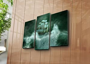 """LaModaHome Decorative Canvas Wall Art 3 Pcs (26"""" x 18"""" Total) Wooden Thick Frame Painting Ship Ocean Storm Night Wave Cloud Nature 3PATK-43 Multicolor"""