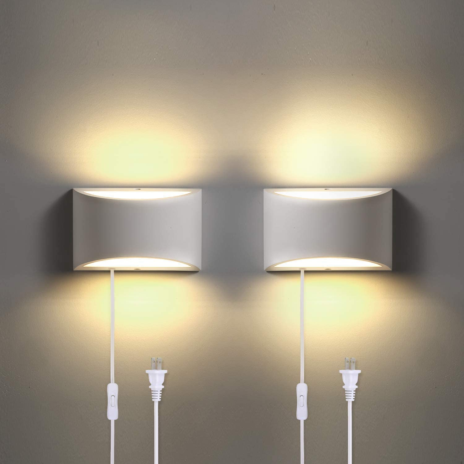 Trlife Wall Sconce Plug In Modern Wall Sconce 9w 3000k Warm White Wall Lights With Plug In Cord Wall Mounted Wall Sconce With 6ft Plug In Cord And On Off Switch On The
