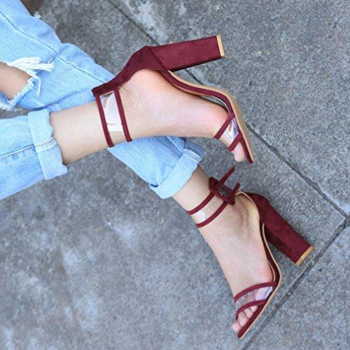 HENGSONG Damen Hohen Absatz Fesselriemen Schnalle Sandalen High Heels Schuhe Riemchensandalen Blockabsatz (Asian Size 37 (Fußlänge 23.5cm), Weinrot)