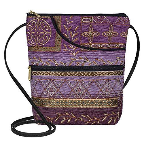 Danny K Women's Tapestry Bella Purse Crossbody Handbag, Adjustable Cord, Handmade in USA (Neptune/Purple) ()