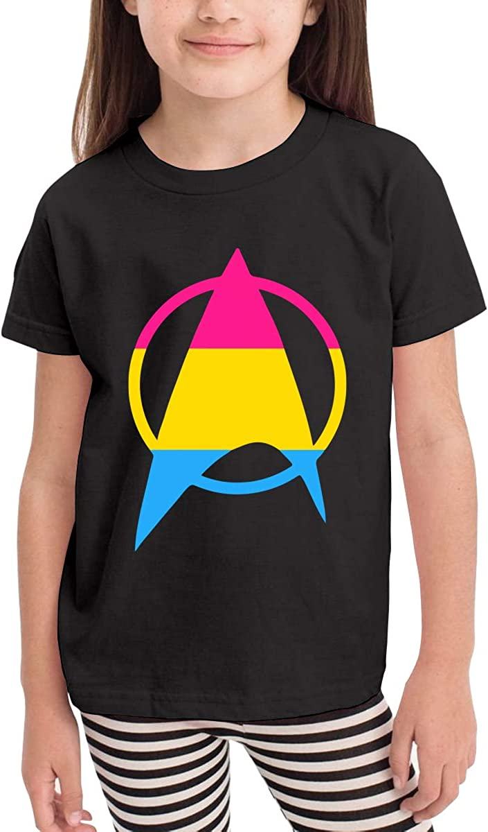 Pansexual Starfleet Pride Kids Cotton T-Shirt Basic Soft Short Sleeve Tee Tops for Baby Boys Girls