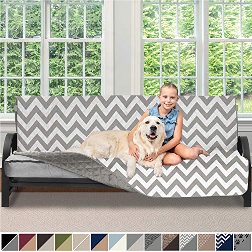 Sofa Shield Original Patent Pending Reversible Futon Slipcover, 2 Inch Strap Hook, Seat Width Up to 70 Inch Washable Furniture Protector, Futons Slip Cover Throw for Pets, Kids, Futon, Chevron Gray (Sunbrella Slipcovers)