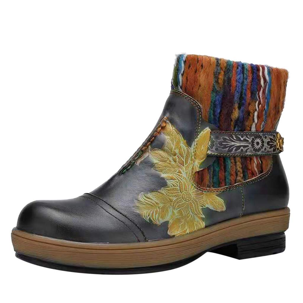 Women Combat Work Boots, Mosunx Chunky Block Heel Ankle Booties Floral Embroidery Style Ankle Strap Short Boots by Mosunx