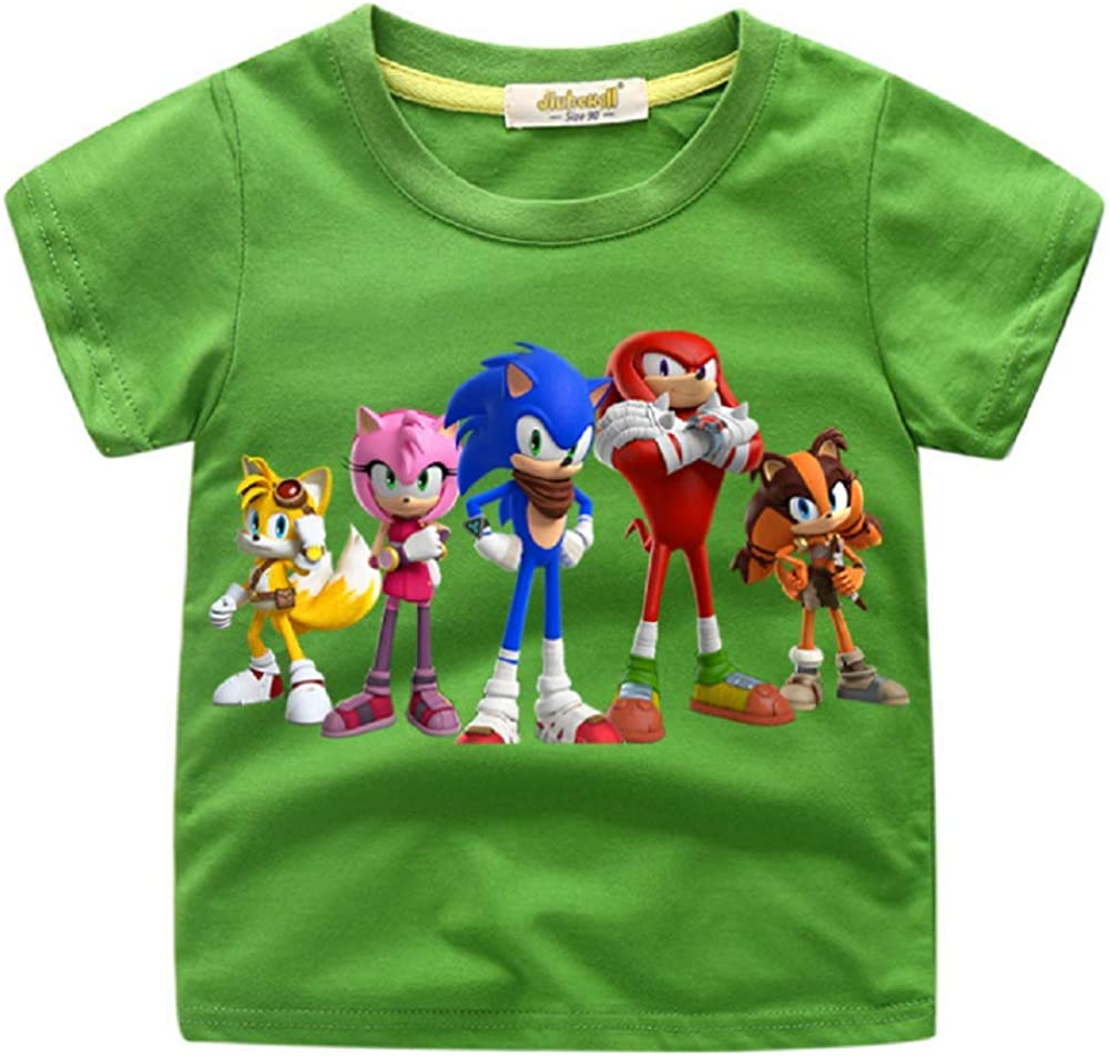 CHANI Youth Boys/&Grils Sonic Hedgehog Characters Funny Short Sleeve T-Shirt 2-8Y