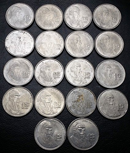 Unbranded LOT OF 18X MEXICO 1 PESOS COINS1984 TO 1986 GREAT CONDITION COINS