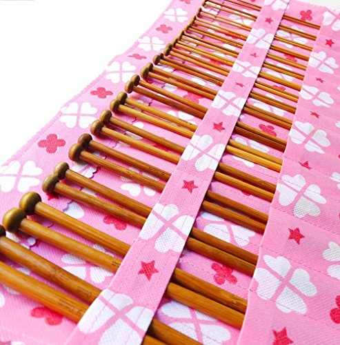 Pouch of 36-Pack Bamboo Knitting Needles for Beginner and Professinal