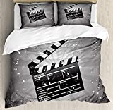 Movie Theater Bedding Sets, Clapper Board on Retro Backdrop with Grunge Effect Director Cut Scene, 4 Piece Duvet Cover Set Quilt Bedspread for Childrens/Kids/Teens/Adults, Grey Black White,Twin Size
